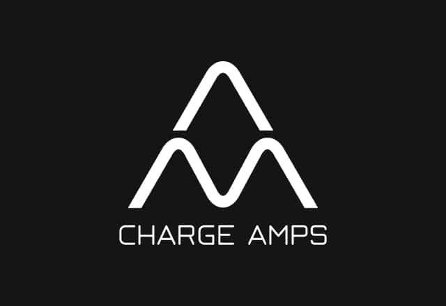 Charge Amps company logo, white with black background