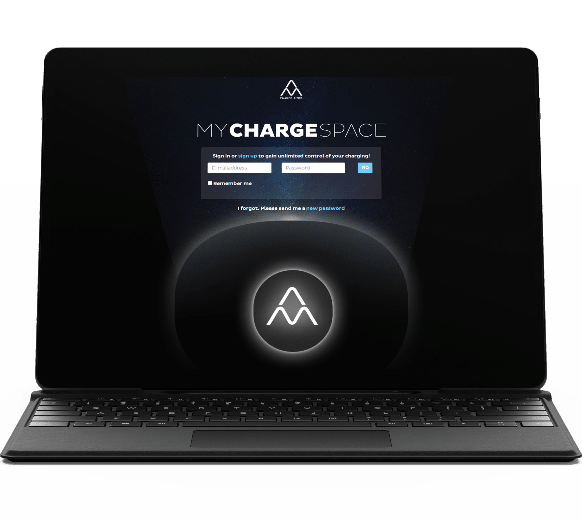 Laptop showing login to Charge Amps cloud